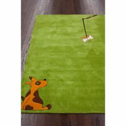 nuLOOM Handmade Kids Dog Green Rug (5' x 7') - Thumbnail 1