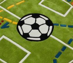nuLOOM Handmade Kids Soccer Field Green Rug (4'3 Round) - Thumbnail 2