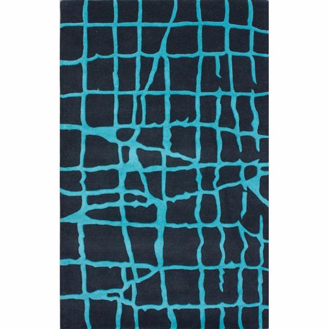 nuLOOM Handmade Lines Turquoise Wool Rug (7'6 x 9'6)
