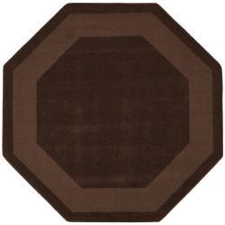 Hand-tufted Chocolate Border Wool Rug (6' x 6')