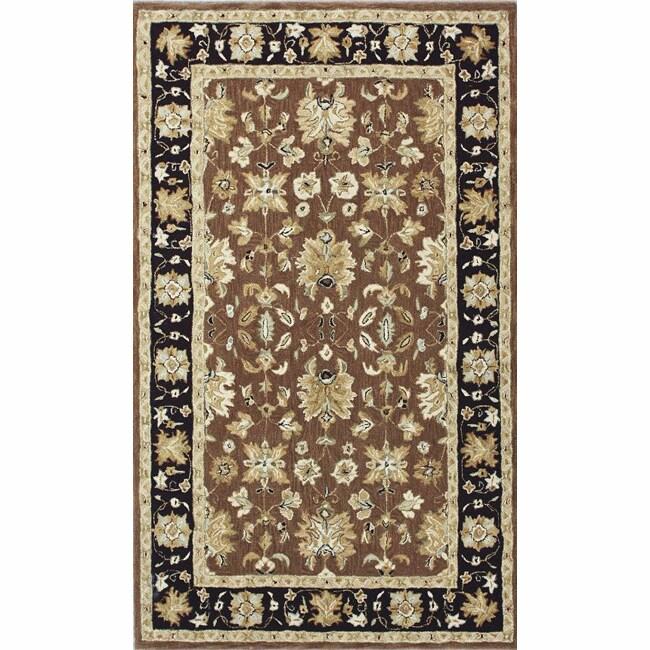 nuLOOM Handspun Decorative Persian Brown New Zealand Wool Rug (8' x 10')