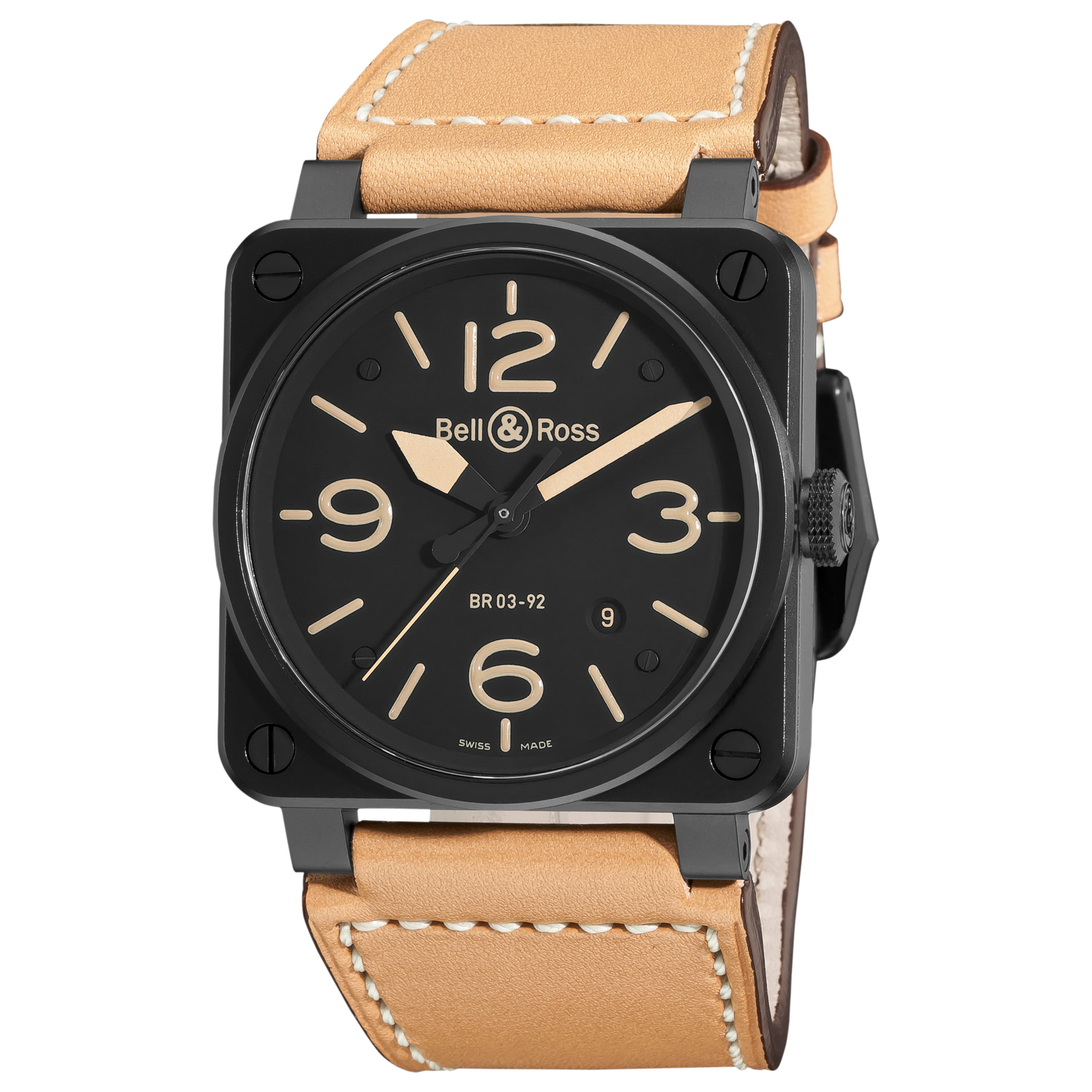 Bell & Ross Men's 'Aviation' Black Dial Tan Leather Strap Watch