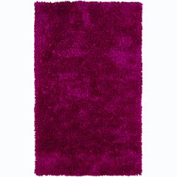 Hand-woven Safir Fuchsia Pink Shag Rug (3' Round) - Thumbnail 0