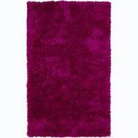 Hand-woven Safir Fuchsia Pink Shag Rug (3' Round)
