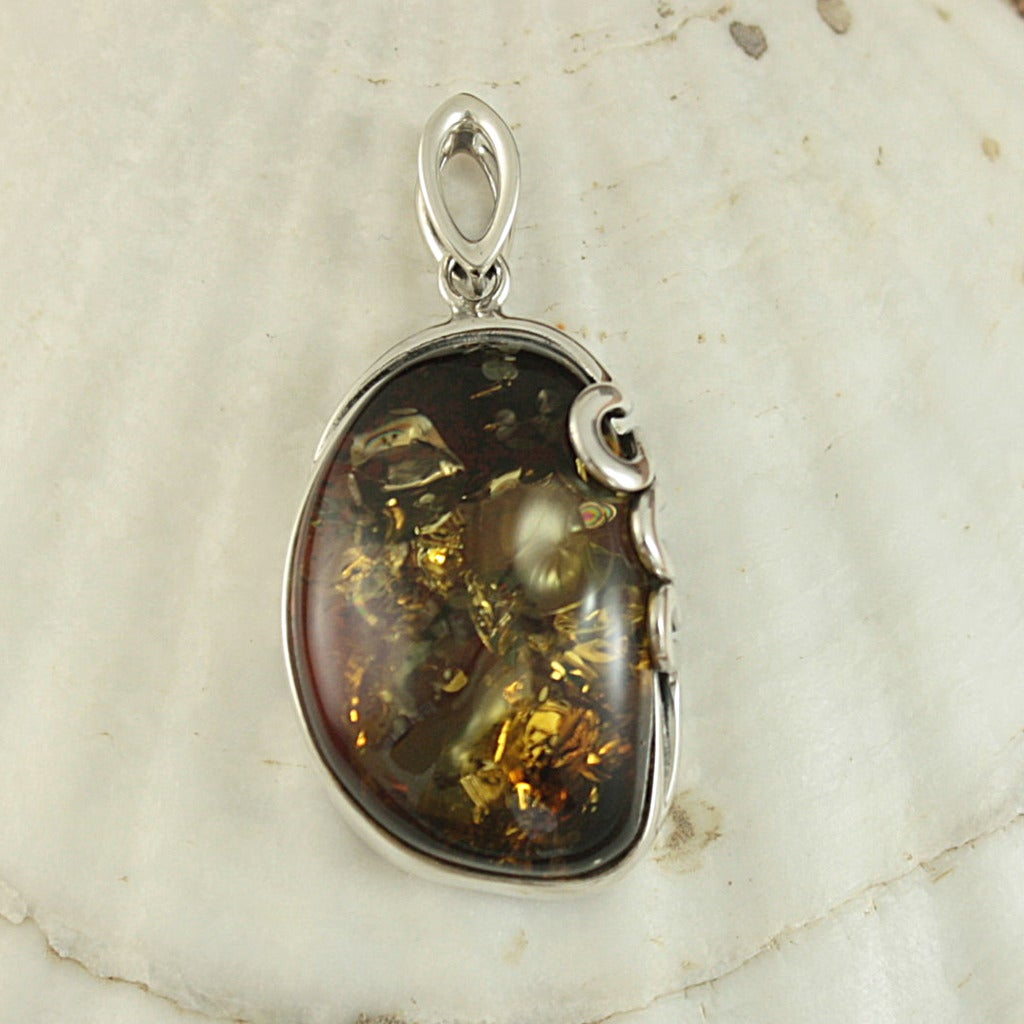 Sterling Silver Cognac Baltic Amber Swirly Vine Pendant (Lithuania)