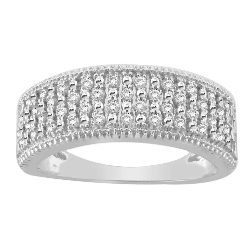 14k White Gold 1/3ct TDW White Diamond Band (H-I, I1-I2) - Thumbnail 0
