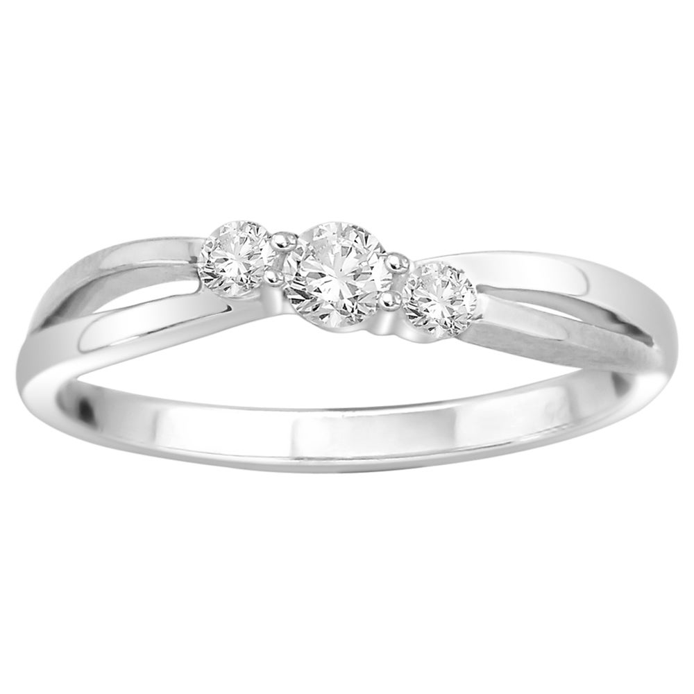 14k White Gold 1/4ct White Diamond Three-stone Ring (I1-I2) - Thumbnail 0