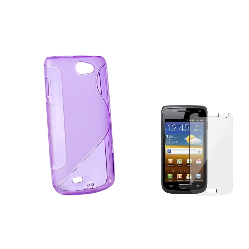 Frost Purple TPU Case/ Screen Protector for Samsung Galaxy W i8150