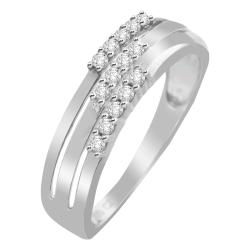 14k White Gold 1/6ct TDW White Diamond Three-row Band (H-I, I1-I2)