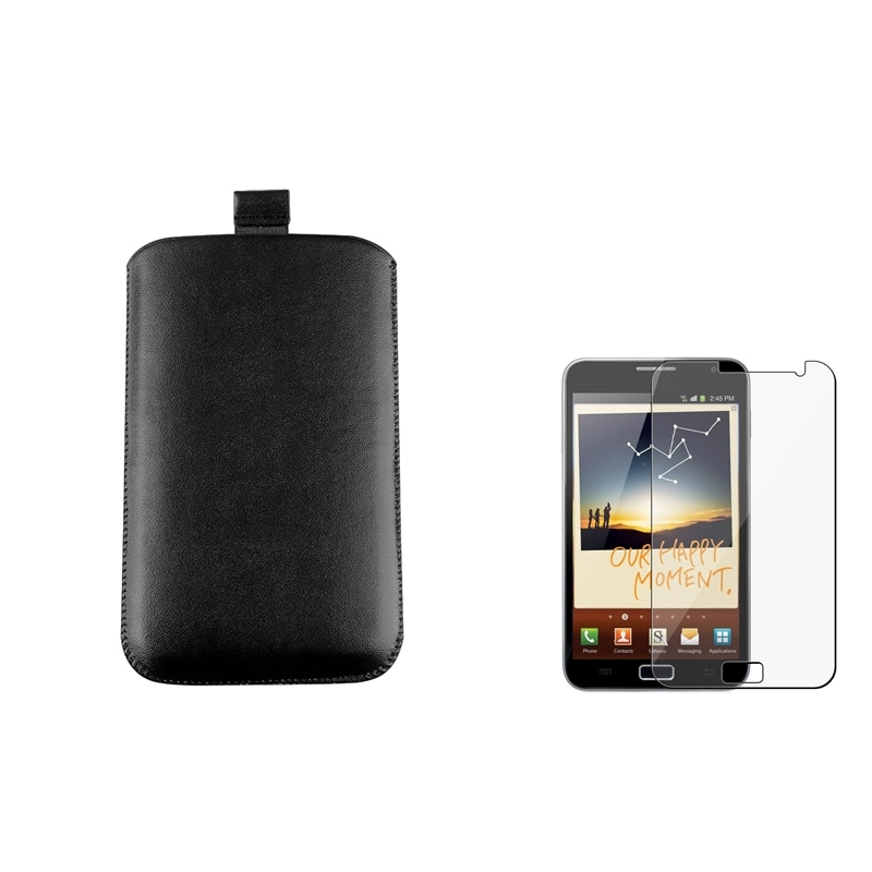 Black Leather Pouch/ LCD Protector for Samsung Galaxy Note N7000