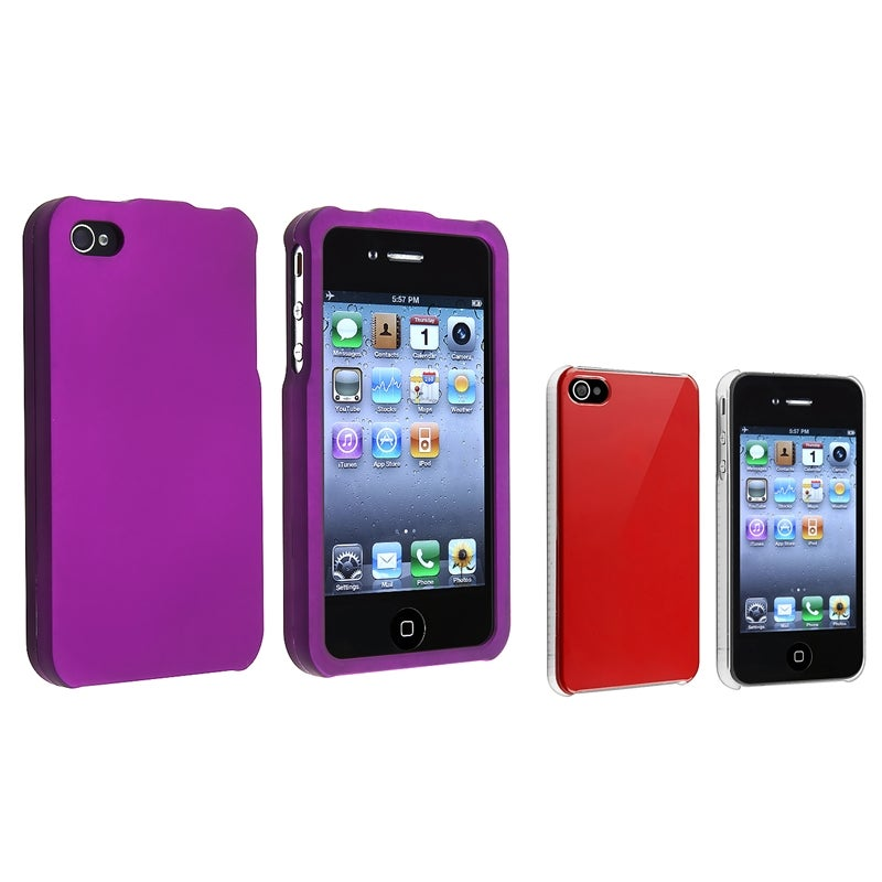 Shiny Red Case/ Dark Purple Case for Apple iPhone 4/ 4S