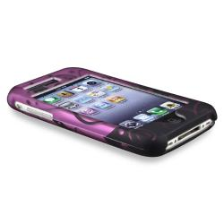 Purple/ Black Swirl Case/ LCD Protector for Apple iPhone 3G/ 3GS - Thumbnail 2