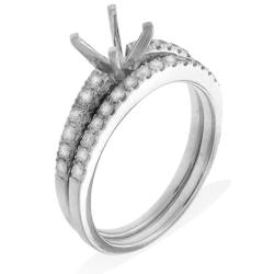 14k White Gold 1/2ct TDW Semi-mount Diamond Engagement Ring (G-H, SI-1/SI-2) - Thumbnail 1