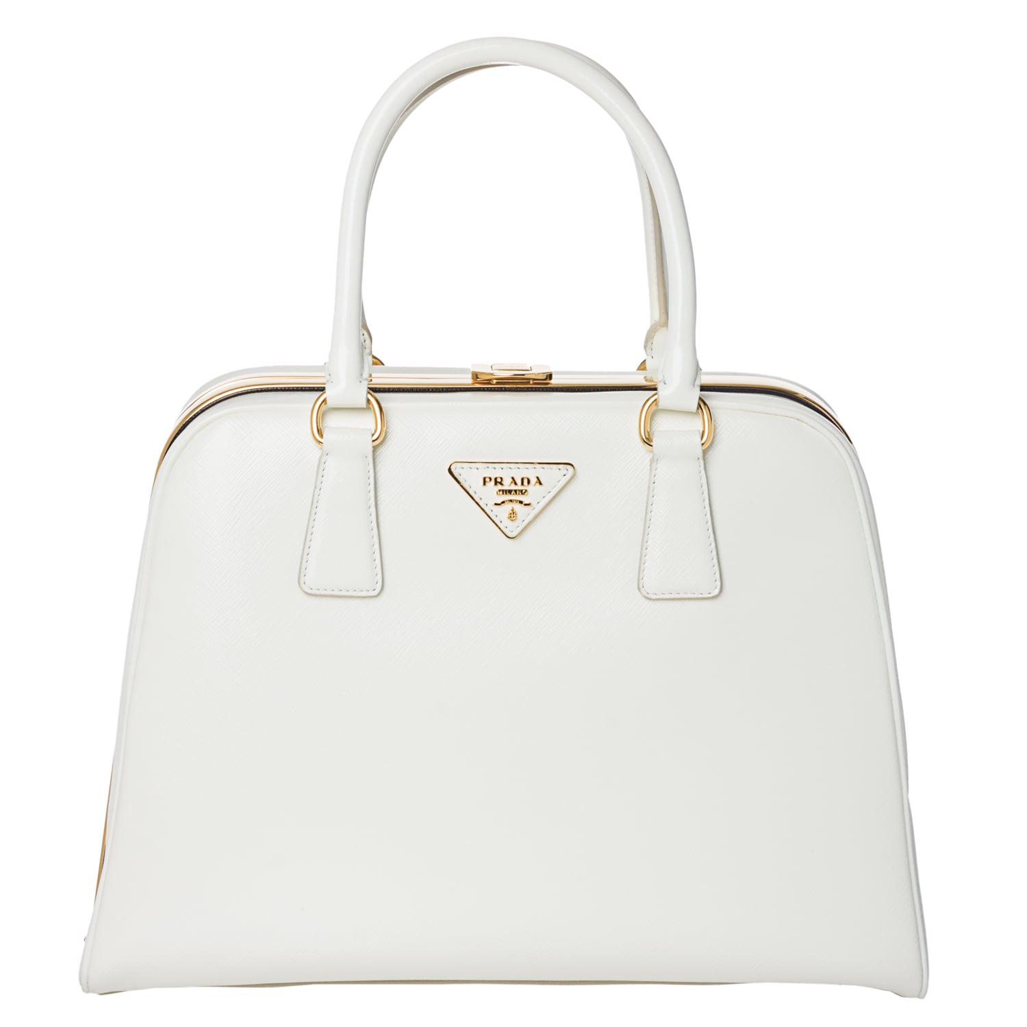 Prada White Saffiano Leather Pyramid Frame Bowler Bag