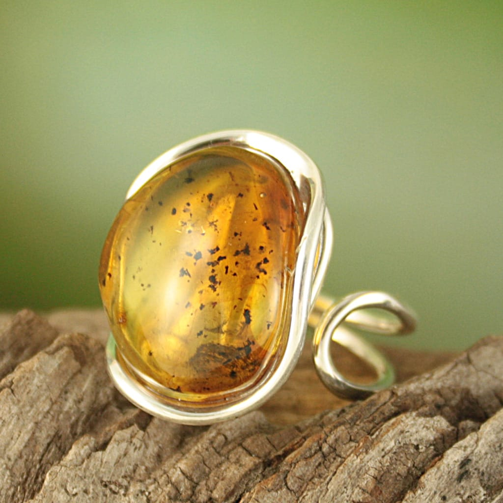 Sterling Silver Freeform Honey Baltic Amber Ring (Lithuania)