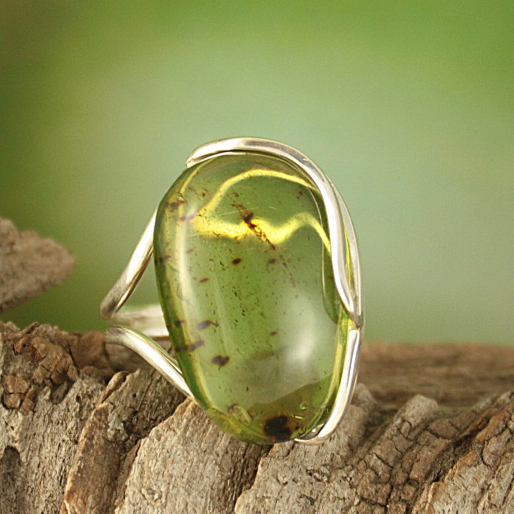 Sterling Silver Freeform Green Baltic Amber Ring (Lithuania)