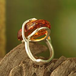 Sterling Silver Freeform Honey Baltic Amber Adjustable Ring (Lithuania)