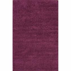 Alexa 'My Soft and Plush' Plum Shag Rug (5'3 x 8')