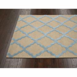 Hand hooked Alexa Moroccan Trellis Light Blue Wool Rug (76 x 96