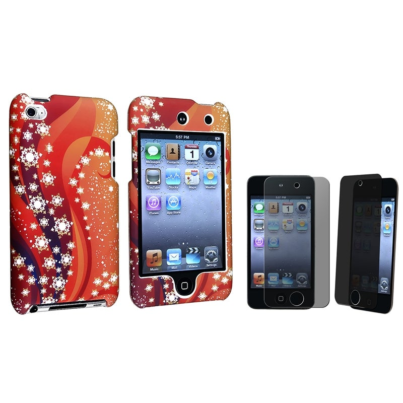 Hard Plastic and Rubber Case/Privacy LCD Protector for Apple iPod Touch Generation 4