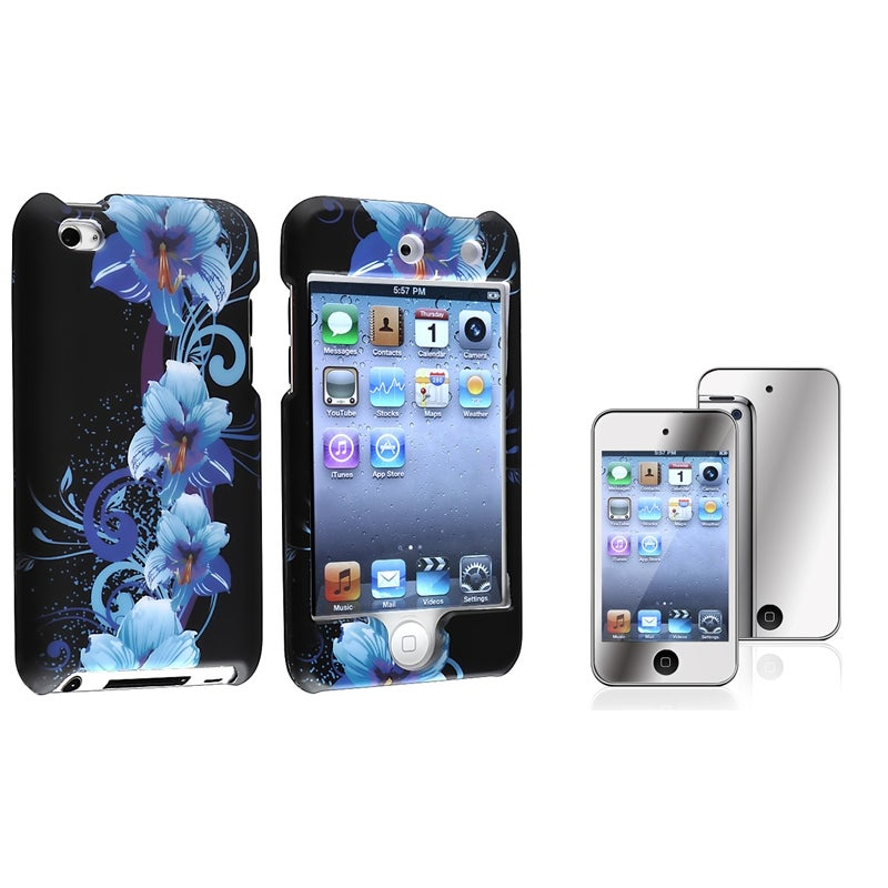 Flower Case/ Mirror LCD Protector for Apple iPod Touch Generation 4