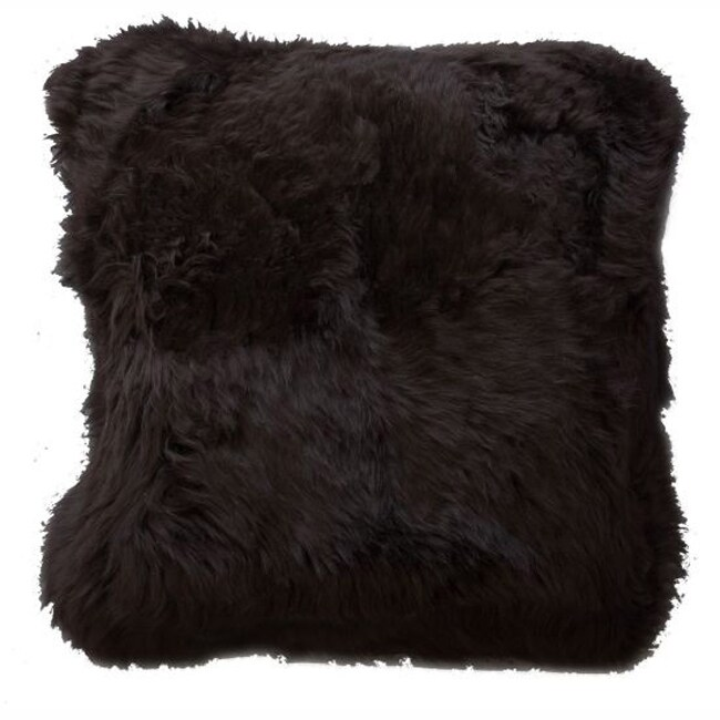 nuLOOM Decorative Sheepskin Dark Brown Wool Pillow