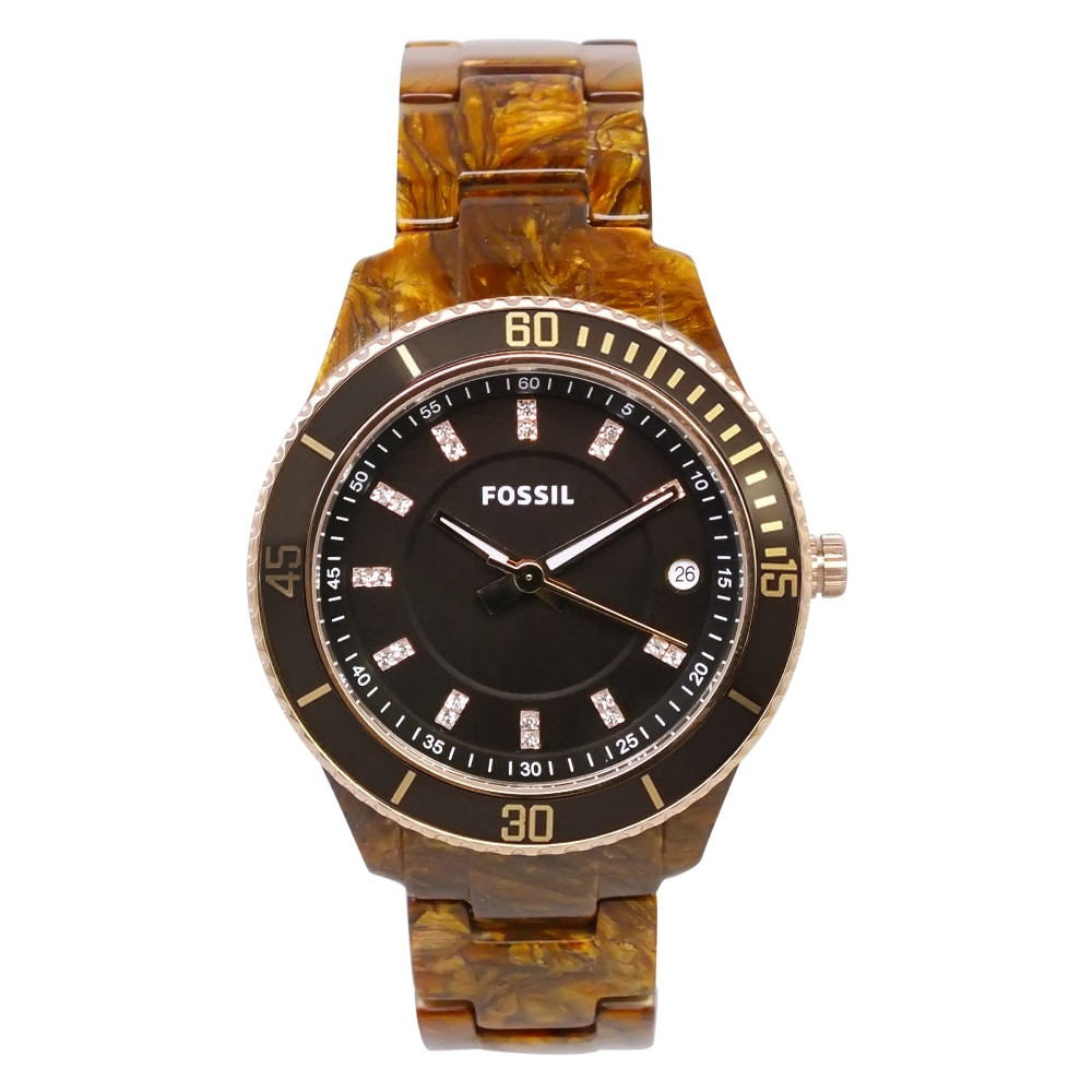"Fossil Women's ES3088 ""Stella"" Tortoise Resin Watch"