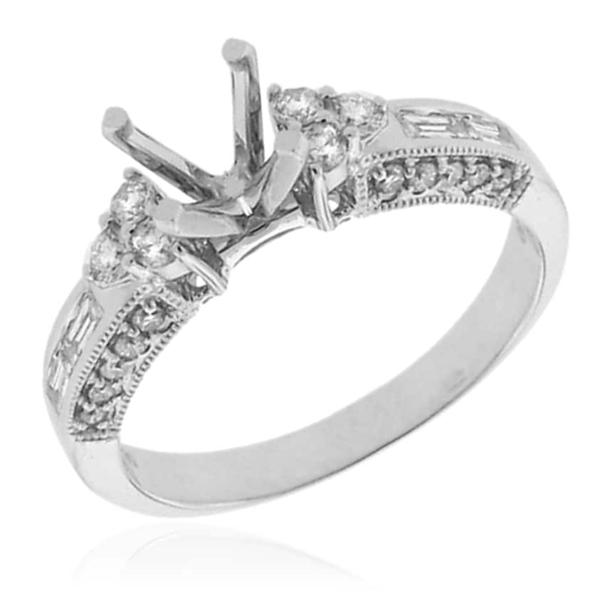 14k White Gold 1/2ct TDW Diamond Round Engagement Ring (G-H, SI-1/SI-2) - Thumbnail 0