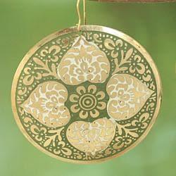 Handcrafted Large Goldtone Green Enamel Drop Earrings (India)