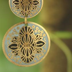 Handcrafted Goldtone Matt Blue Enamel Drop Earrings (India)