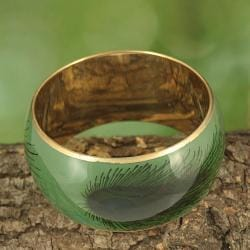 Handcrafted Pastel Enamel Peacock Feather Print Bangle (India)