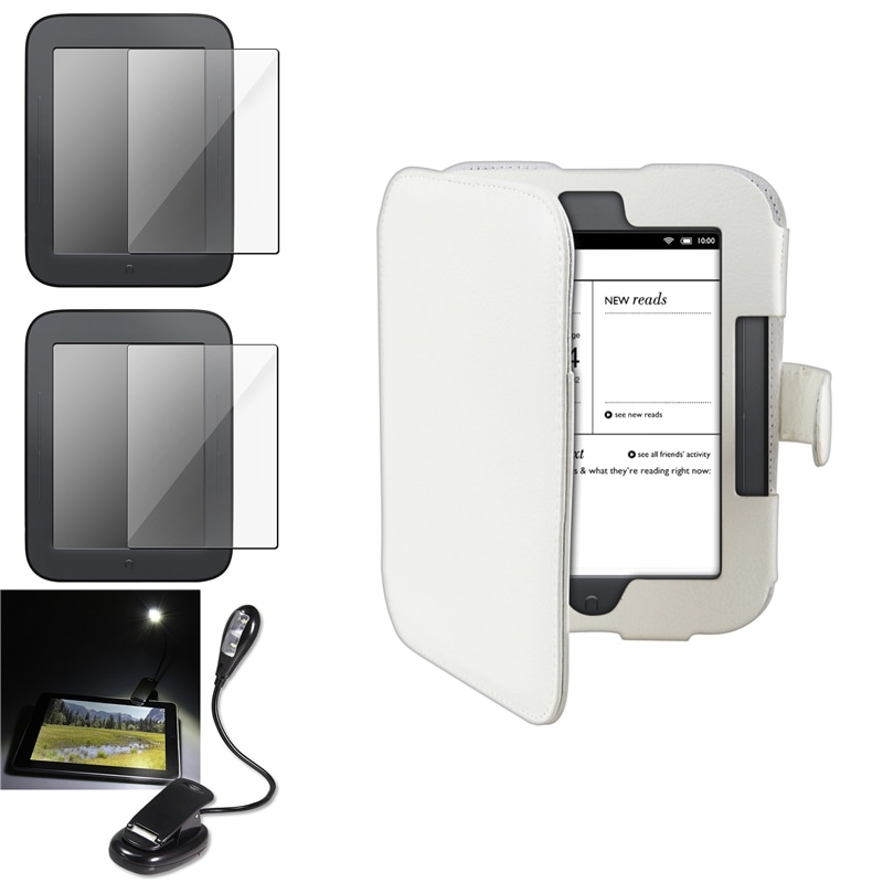 White Case/ Screen Protector/ LED Light for Barnes & Noble Nook 2