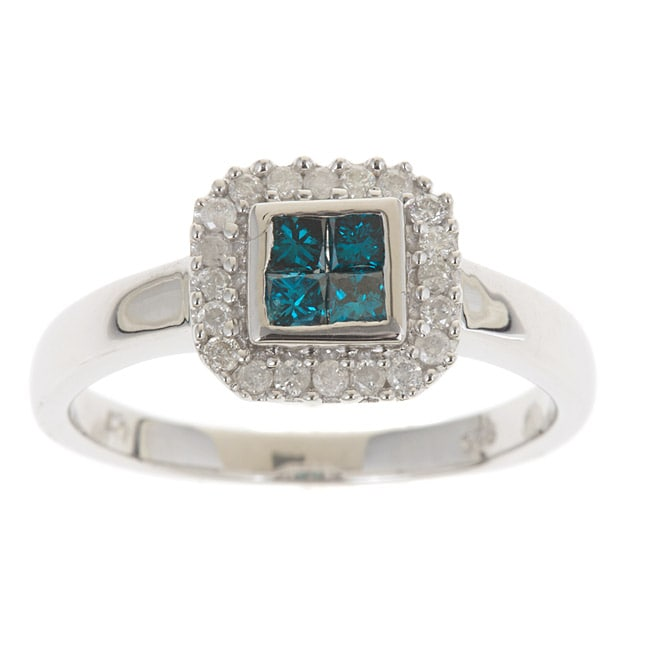 D'Yach Sterling Silver 1/2ct TDW Blue Diamonds Ring