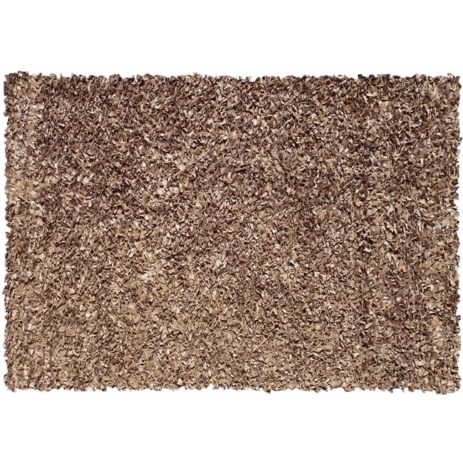 Shaggy Brown Suede Leather Rug (5'3 x 7'7)