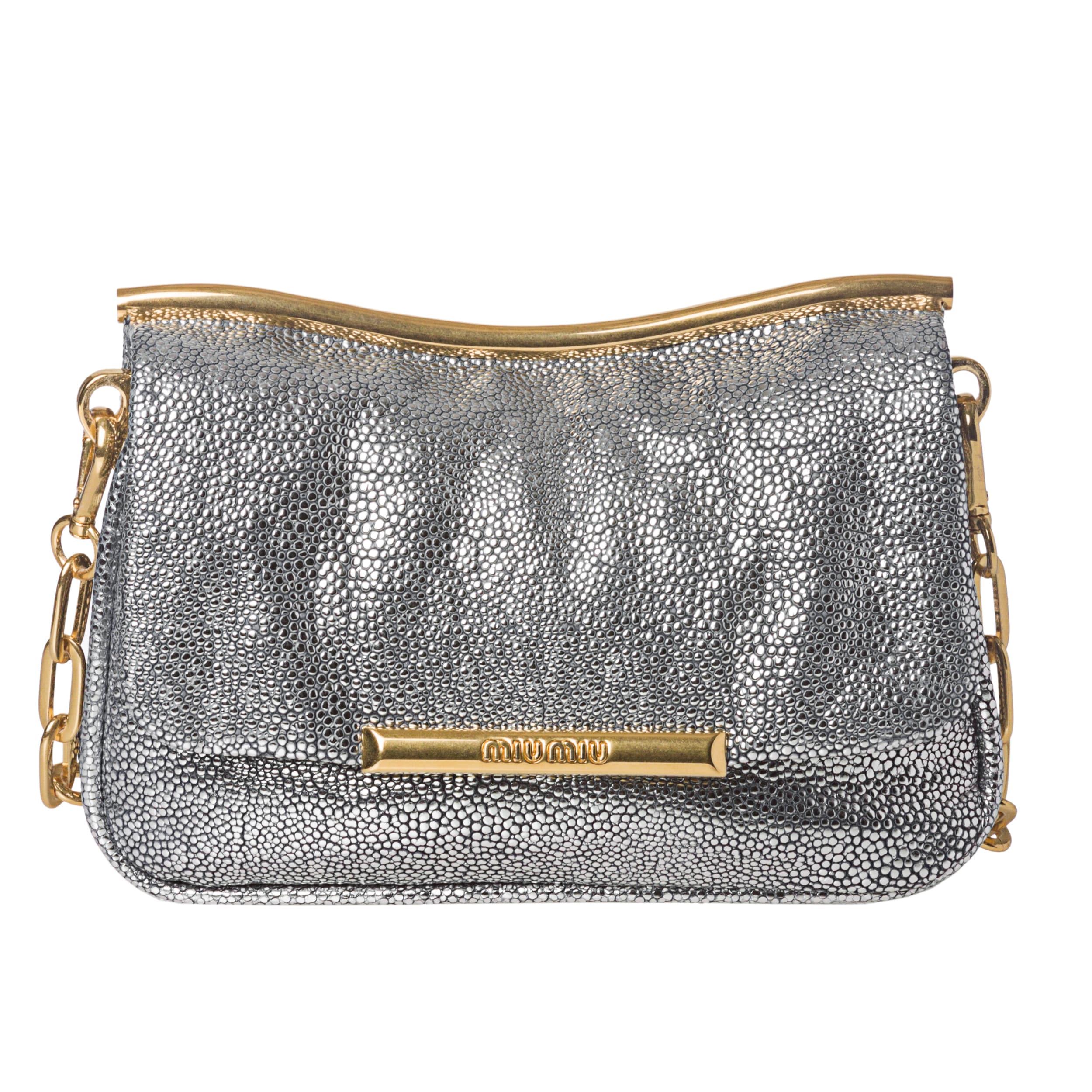 Miu Miu Silver Embossed Leather Crossbody Bag