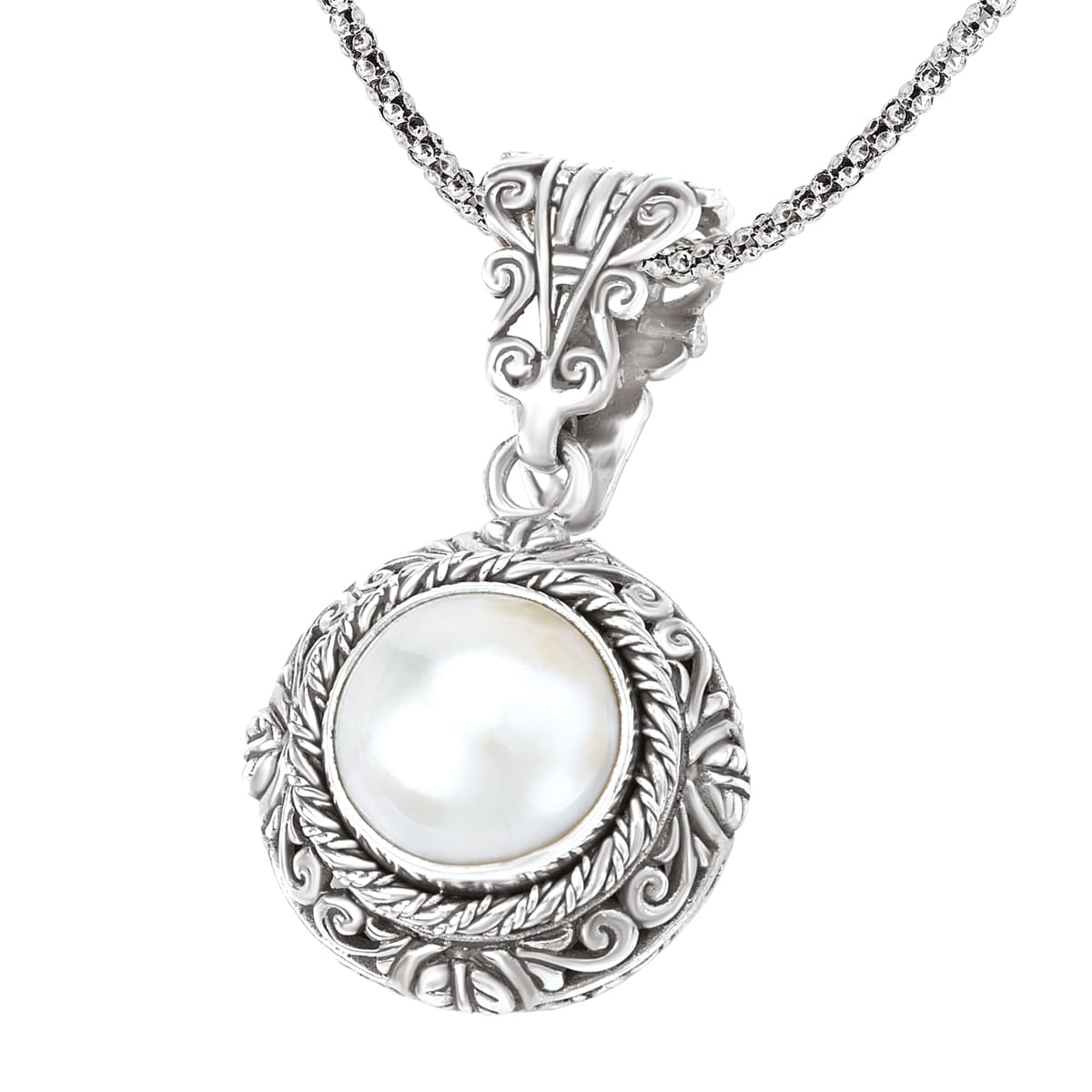 Mabe Pearl Necklace: Avanti Sterling Silver Mabe Cultured Pearl Necklace