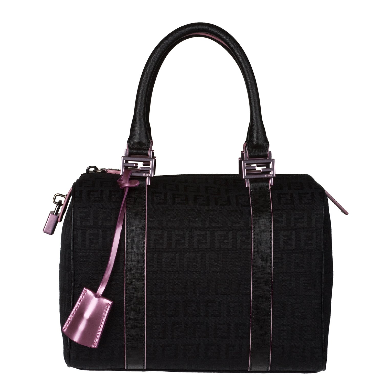 Fendi 'Zucchino' Black Canvas Bowler Bag