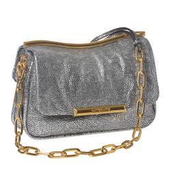 Miu Miu Silver Embossed Leather Crossbody Bag - Thumbnail 1