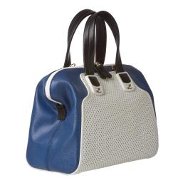 Fendi 'Chameleon' Small White Perforated/ Blue Leather Satchel