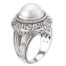 Avanti Sterling Silver White Mabe Pearl Ring - Thumbnail 1