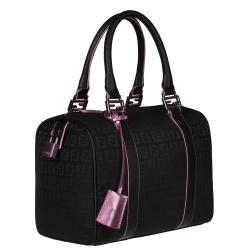 Fendi 'Zucchino' Black Canvas Bowler Bag - Thumbnail 1