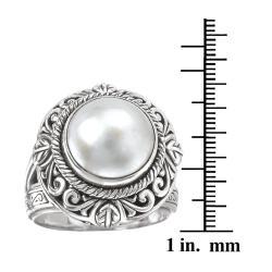 Avanti Sterling Silver White Mabe Pearl Ring - Thumbnail 2