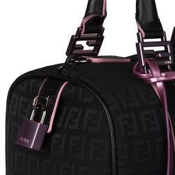 Fendi 'Zucchino' Black Canvas Bowler Bag - Thumbnail 2