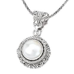 Avanti Sterling Silver Mabe Pearl Necklace