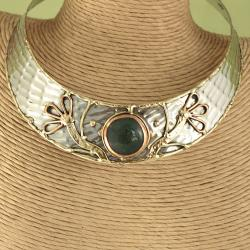 Handcrafted Textured Brass Copper Spring Sun Choker (India) - Thumbnail 1