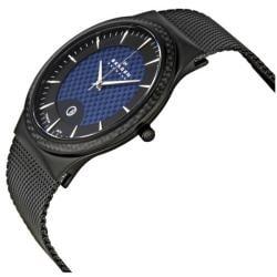 Skagen Men's Titanium Black and Blue Dial Watch