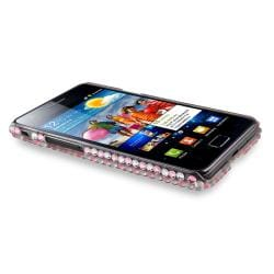Bling Rosy Rear Rubber Coated Case for Samsung Galaxy S II i9100 - Thumbnail 1