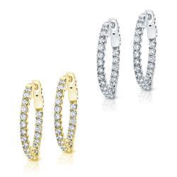 14k Gold 3 ct TDW Trellis Style Diamond Hoop Earrings