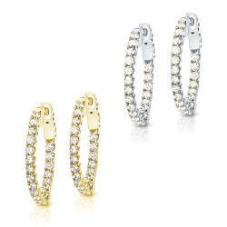 14k Gold 1 3/4 ct TDW Trellis Style Diamond Hoop Earrings (J-K, I1-I2)