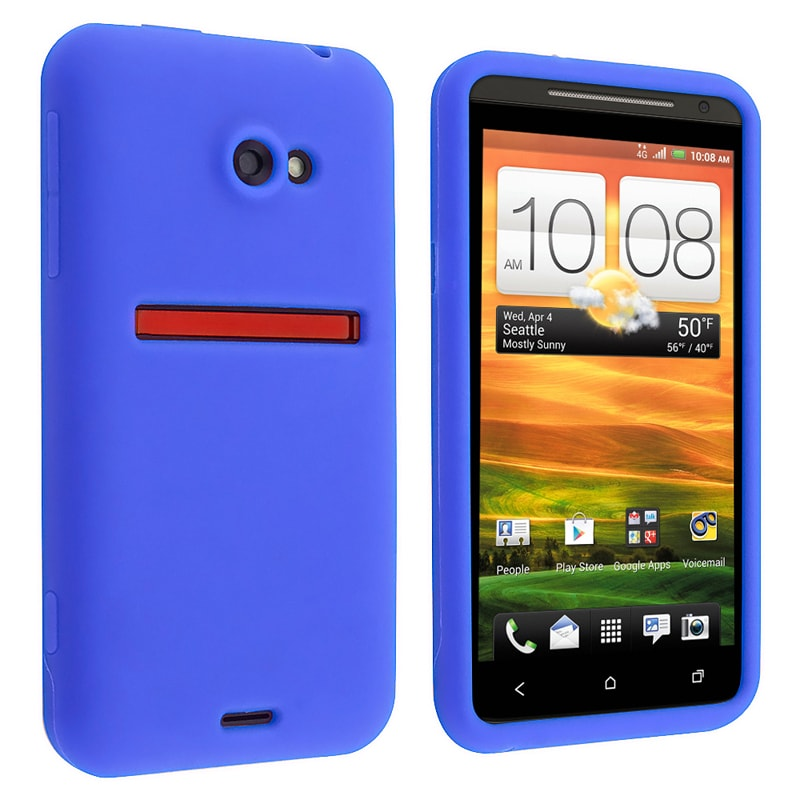 Blue Silicone Skin Case for HTC EVO 4G LTE - Thumbnail 0